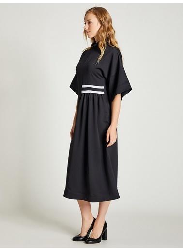 Vekem-Limited Edition Dik Yaka Rahat Kesim Elbise Siyah